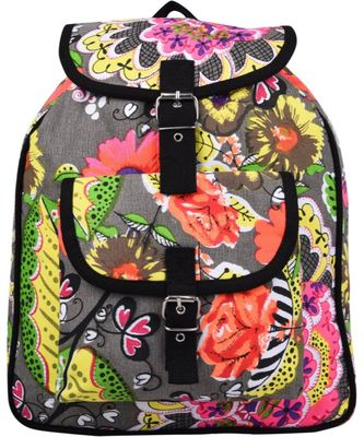 Florid Multicolor Canvas Backpack