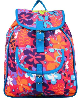 Florid Pink Multicolor Canvas Backpack
