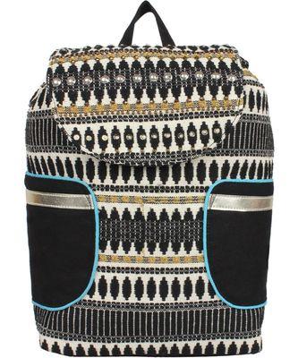 Nava Black & White Cotton Jacquard Backpack