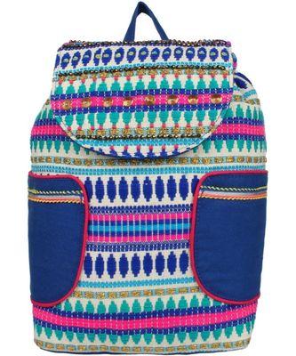 Nava Blue & Multi Cotton Jacquard Backpack