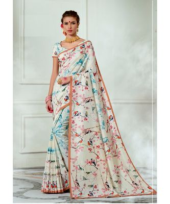 Cream printed tussar silk saree with blouse