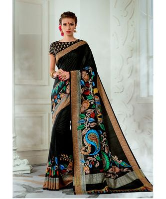 Black printed tussar silk saree with blouse