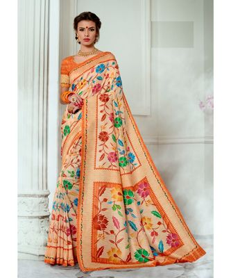 orange printed tussar silk saree with blouse