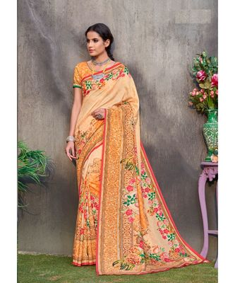 orange printed tussar silk saree with blouse
