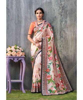 pink printed tussar silk saree with blouse
