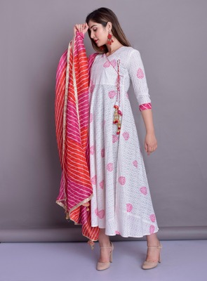 COTTON SELF GOWN WITH LEHRIYA DORIA DUPPTA