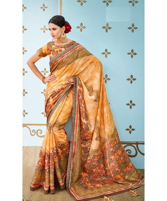 orange printed banarasi saree with blouse