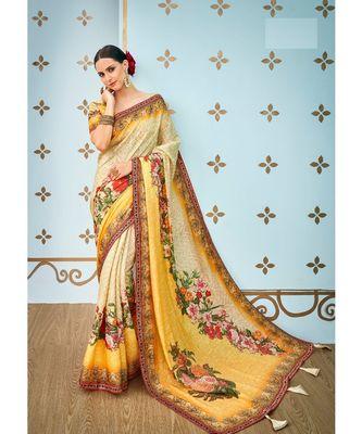 multicolor printed banarasi saree with blouse