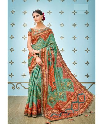 green printed banarasi saree with blouse