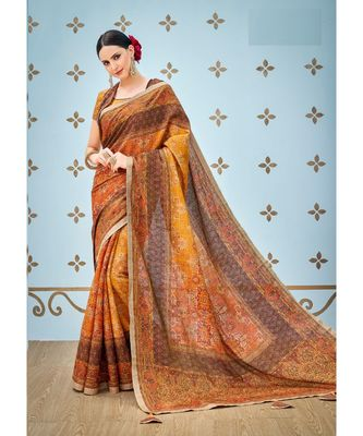 orange printed banarasi saree with blouse