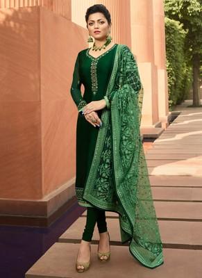 Green multi head work satin salwar