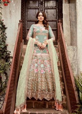 Parrot-green embroidered net salwar