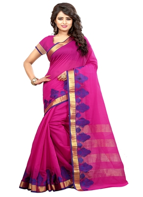 rani pink woven cotton saree with blouse