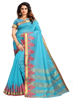 light blue woven cotton saree with blouse