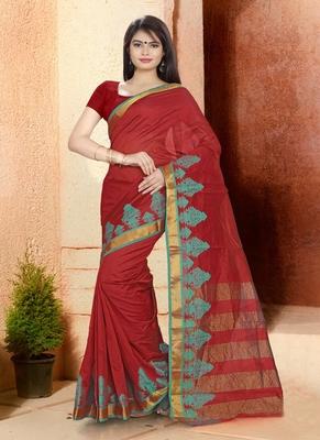 crimson woven cotton saree with blouse