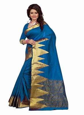 aqua blue woven cotton saree with blouse