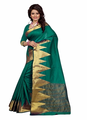 Teal woven cotton saree with blouse