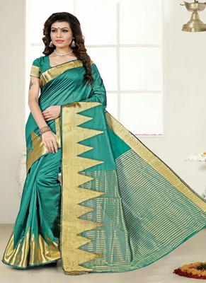 light teal woven cotton saree with blouse