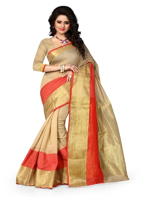 Beige woven cotton saree with blouse