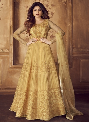 Mustard embroidered net salwar