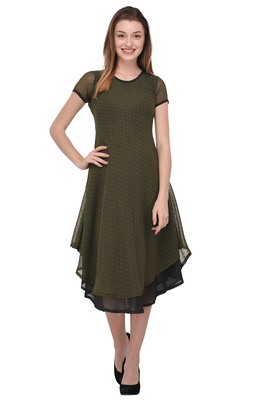 Dark-green plain polyester georgette-kurtis