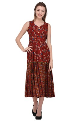 Maroon printed polyester ethnic-kurtis