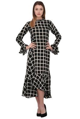 Black printed polyester ethnic-kurtis