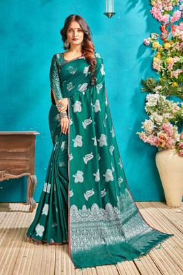 Green woven silk blend saree with blouse