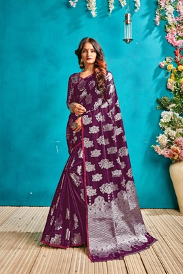 Dark magenta woven silk blend saree with blouse
