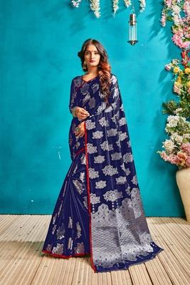 Dark royal blue woven silk blend saree with blouse