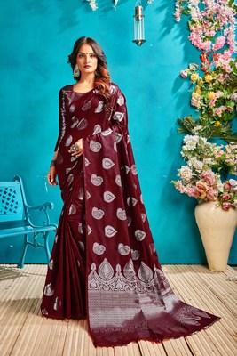 Dark brown woven silk blend saree with blouse