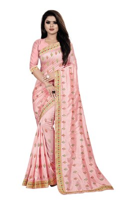 Light-pink embroidered silk saree with blouse