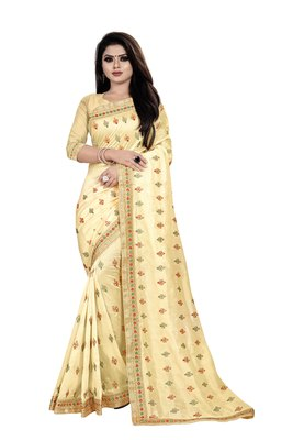 Chiku embroidered silk saree with blouse