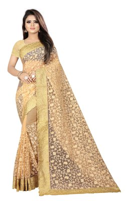 Chiku embroidered net saree with blouse