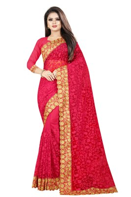 Pink embroidered net saree with blouse