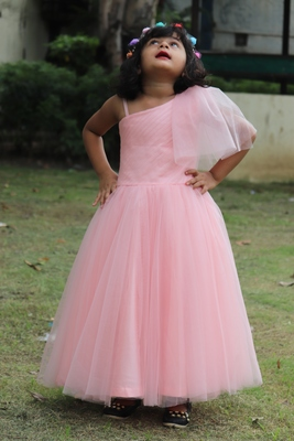 pink net gown for girl