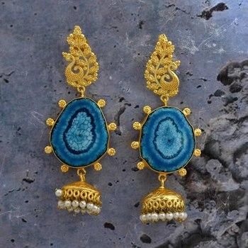 Golden Peacock Designer Long Jhumkas Earring With Beautiful Stones