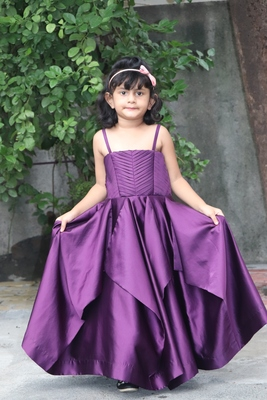 purple plits satin gown set for girl