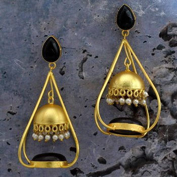 Fancy Gold Plated Jhumkas