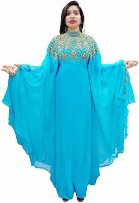 sky blue embroidered georgette islamic-kaftans