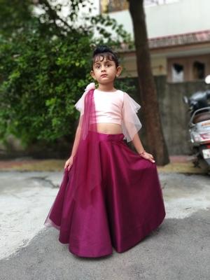 Pink Silk With Net Lahenga Choli