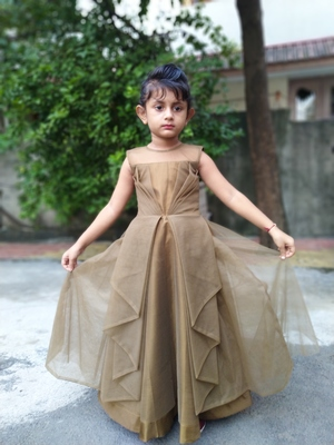 dark bronze satin with net gown set for girl