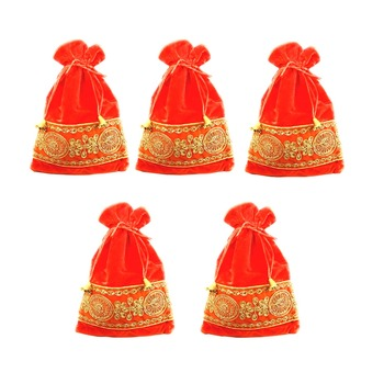 Velvet Potli Pouch With Zariwork for Shagun and Gifting Combo of 5 Orange Color