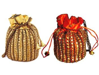 DESIGNER POTLI BAG COMBO WITH BEADWORK FOR WOMEN