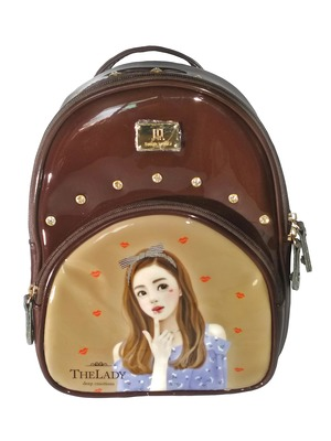 Water Resistant Mini Backpack for Girls/Kids Material Patent Leather with High Quality Gloss Finish Brown Color