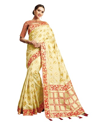 Light-Yellow embroidered jacquard saree with blouse