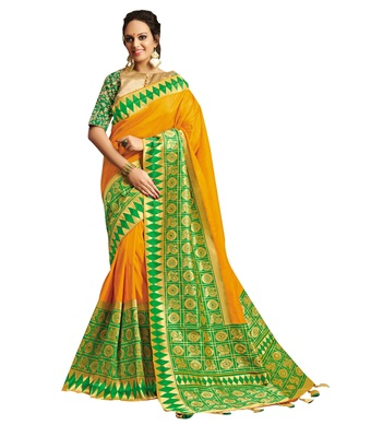 Golden embroidered jacquard saree with blouse