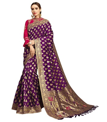 Purple embroidered jacquard saree with blouse