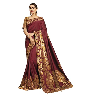 Maroon Embroidered Jacquard Saree With Blouse