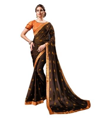 Dark brown printed chiffon saree with blouse